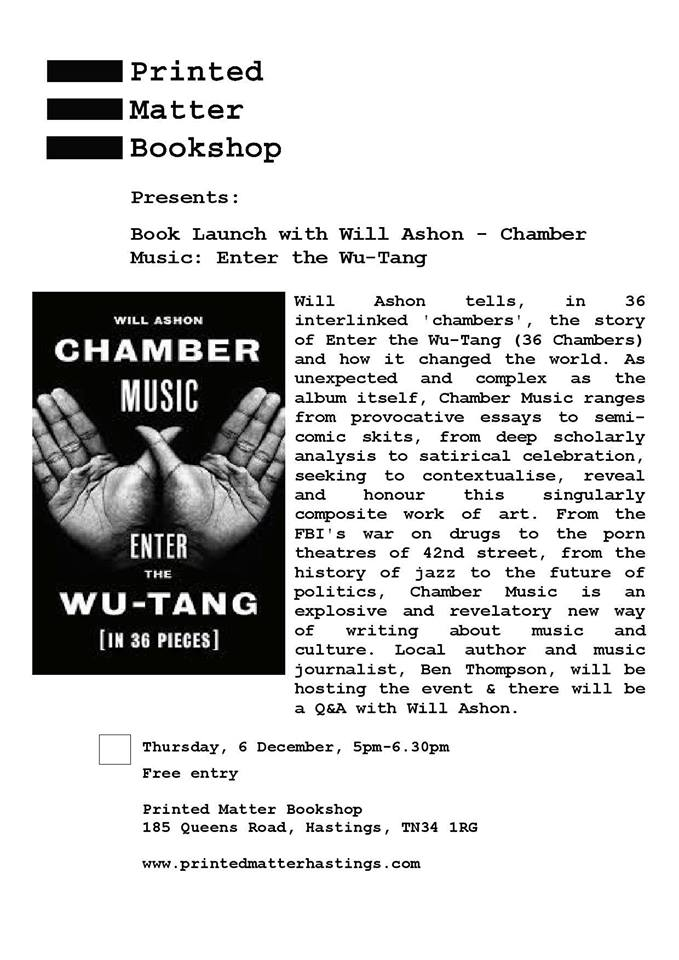 Book launch of Chamber Music : Enter the Wu-Tang with Will Ashon